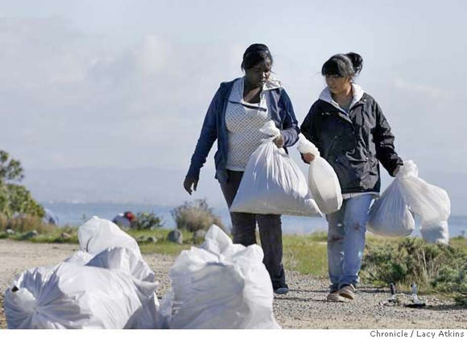 (left to right) Volunteers Charnae Adams and Gabby Moreno both 15 years old gather the bags of weeds and trash that was picked up, Sunday Nov. 11, 2007, at Heron's Head Park in San Francisco, Ca. Photographer: Lacy Atkins /San Francisco Chronicle  Photo taken on 11/11/07, in san francisco, CA, USA MANDATORY CREDIT FOR PHOTOG AND SAN FRANCISCO CHRONICLE/NO SALES-MAGS OUT Photo: Lacy Atkins