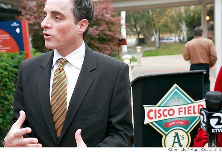 Keith Wolff, co-owner of the Oakland A's speaks after press conference. Press conference announcing that The Oakland A's filed plans Thursday to develop 226 acres near the bay shore in Fremont at a cost of $1.8 billion, including a $500 million ballpark that would be the team's new home. Mark Costantini / The Chronicle Photo taken on 11/8/07, in Fremont, CA, USA Photo: Mark Costantini