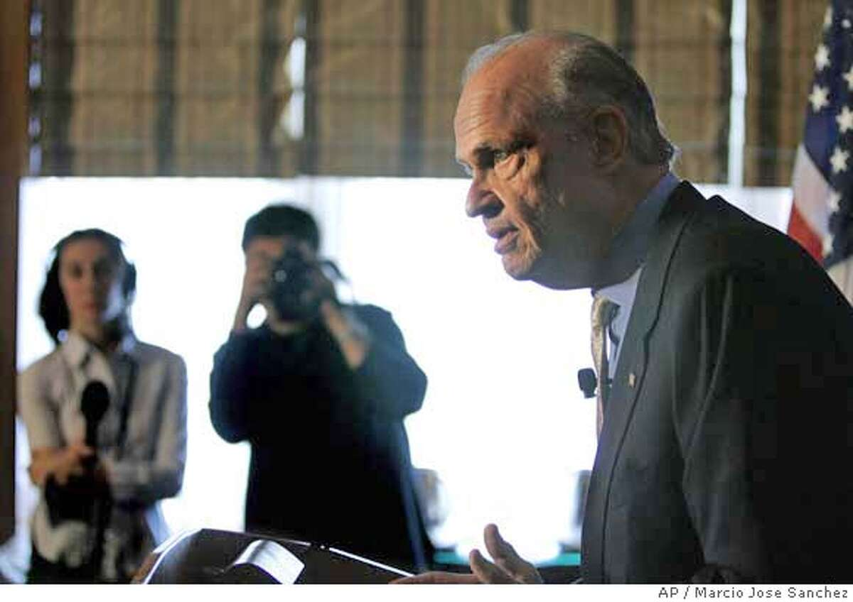Republican presidential hopeful and former U.S. Sen. Fred Thompson, of Tenn., addresses the media at the Four Seasons Hotel in San Francisco, Wednesday, Oct. 31, 2007.(AP Photo/Marcio Jose Sanchez)