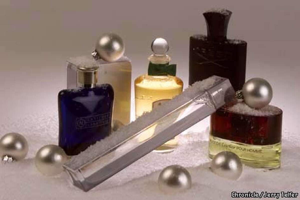 Fragrances for men tend to be crisper and less provocative than women's. Some gift ideas: DKNY (on its side) and (from left) Nautica Latitude Longitude, Gucci Rush, Penhaligon English Fern, Creed Green Irish Tweed and Must de Cartier. Chronicle photo by Jerry Telfer