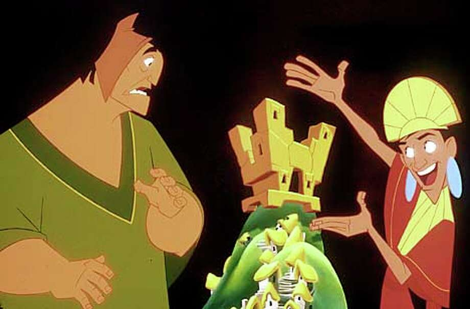 "The emperor Kuzco (right) meets up with the kindly peasant Pacha in ""The Emperor's New Groove.''"