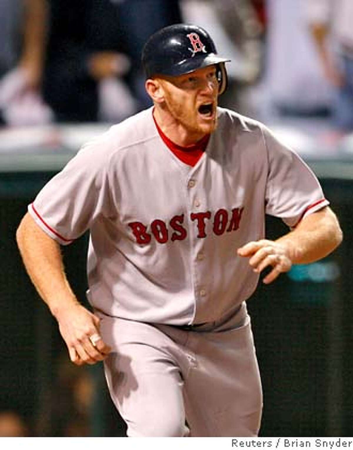 Boston Red Sox hitter Bobby Kielty reacts as his fly ball is caught with the bases loaded in the fifth inning of play against the Cleveland Indians in Game 5 of Major League Baseball's ALCS playoff series in Cleveland, October 18, 2007. REUTERS/Brian Snyder (UNITED STATES) 0