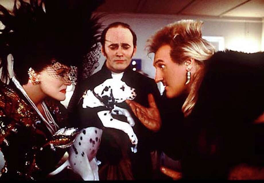 "Glenn Close plays Cruella De Vil, a supposedly reformed dog-snatcher who goes back to her old ways and partners up with furrier Le Pelt (Gerard Depardieu) in ""102 Dalmatians."" Publicity photo"