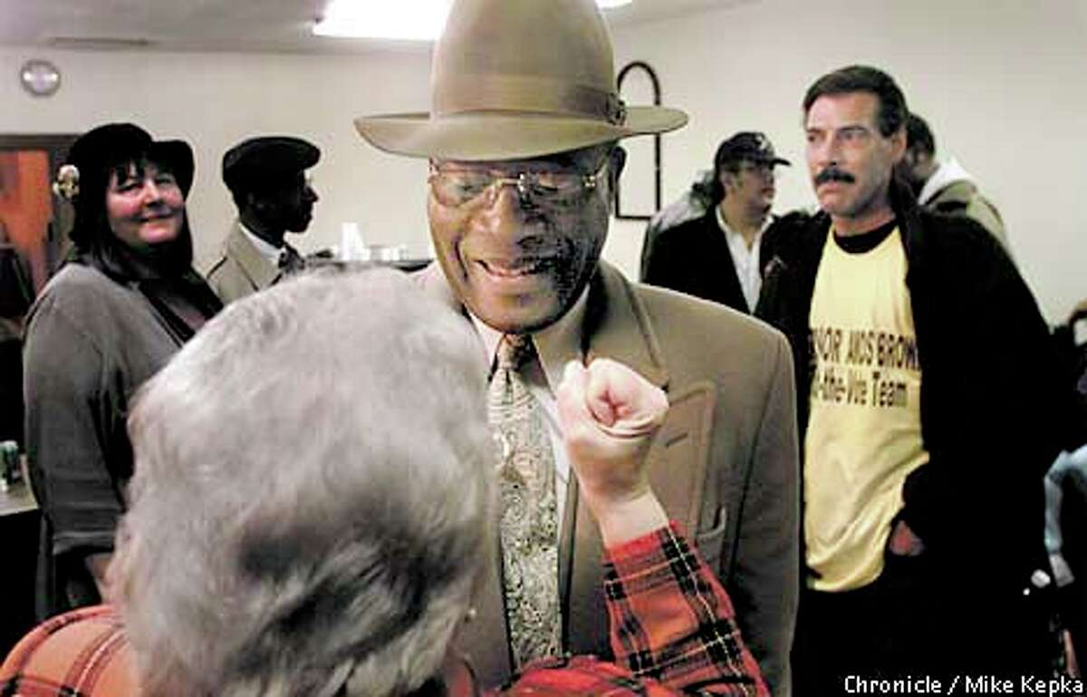 Amos Brown, a supporter of Mayor Willie Brown, was trailing Gerardo Sandoval in the District 11 runoff. Chronicle photo by Mike Kepka