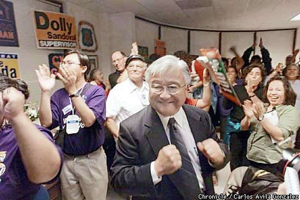 Democrat Mike Honda was jubilant at his election rally at the Labor Temple in San Jose. Chronicle photo by Carlos Avila Gonzalez