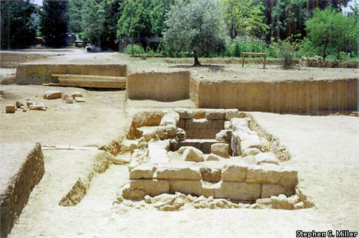 """The excavated """"reservoir,"""" Miller speculates, was used to water horses that raced at Nemea's hippodrome. Photo courtesy of Stephen G. Miller"""