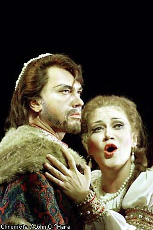 "Dmitri Hvorostovsky and Olga Borodina star in the S.F. Opera production of ""The Tsar's Bride."" Chronicle photo by John O'Hara / Chronicle"