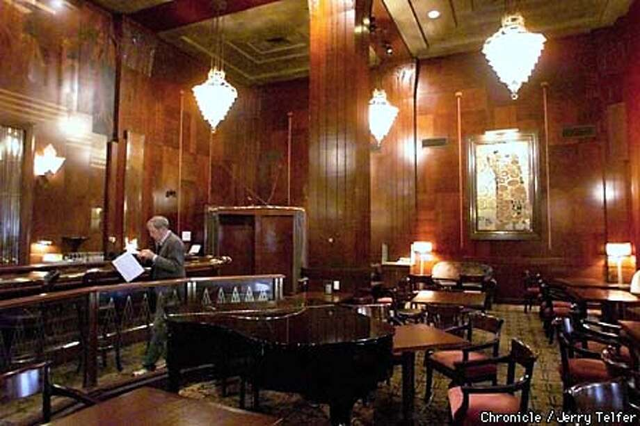 Many of the Redwood Room accoutrements will be sold at auction, but many Art Deco features such as the long bar, paintings and other items will be saved. Chronicle photo by Jerry Telfer / CHRONICLE
