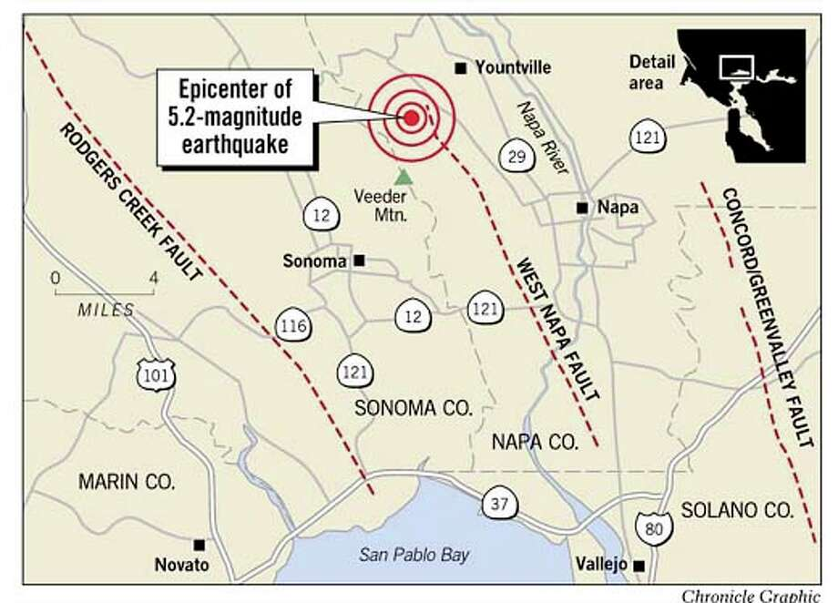 Yountville Quake Epicenter. Chronicle Graphic