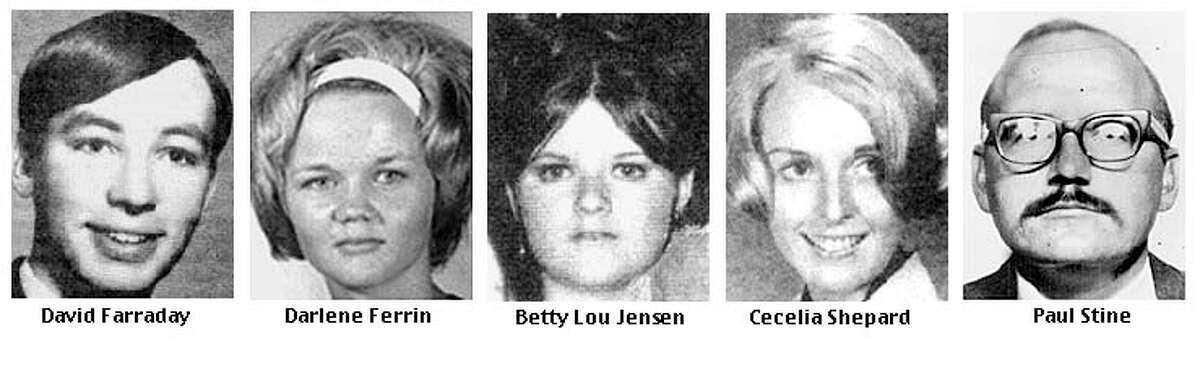 Zodiac's victims: David Farraday, Darlene Ferrin, Betty Lou Jensen, Cecelia Shepard, Paul Stine