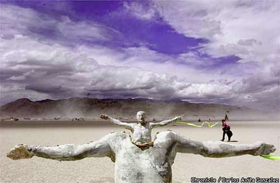 During a clear moment at the Burning Man Festival, a sculpture stood silently on the Black Rock Desert in Nevada. Chronicle photo by Carlos Avila Gonzalez
