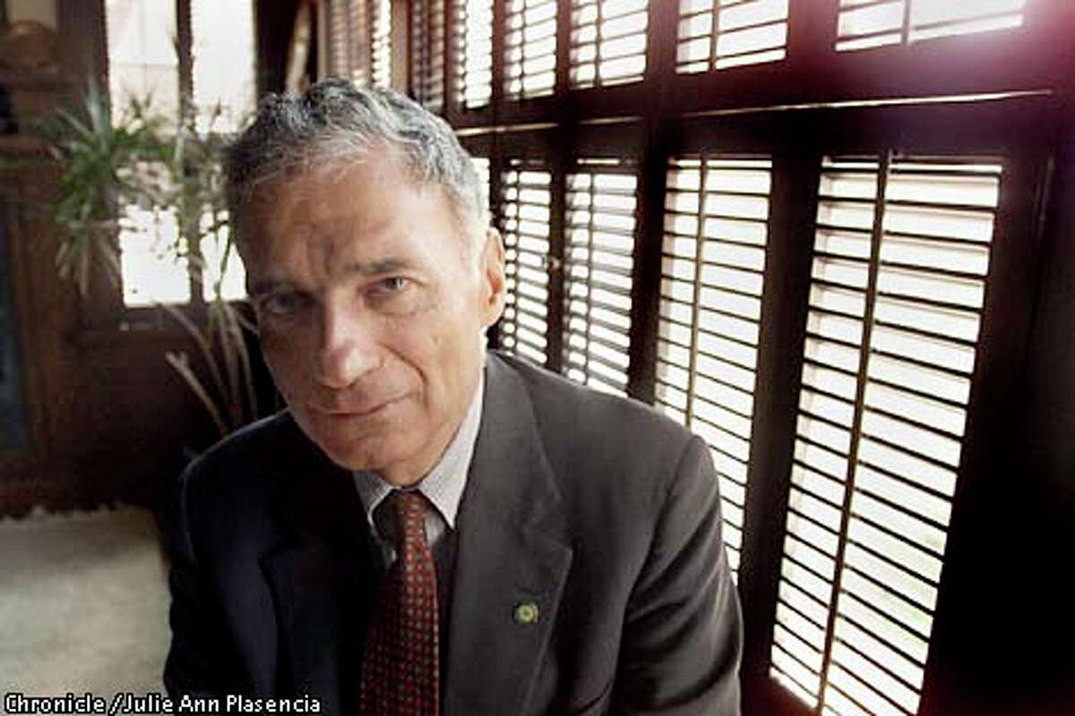 Green Party candidate Ralph Nader had harsh words for his Democrat and Republican opponents during a wide-ranging interview in Berkeley. Chronicle photo by Julie Ann Plasencia