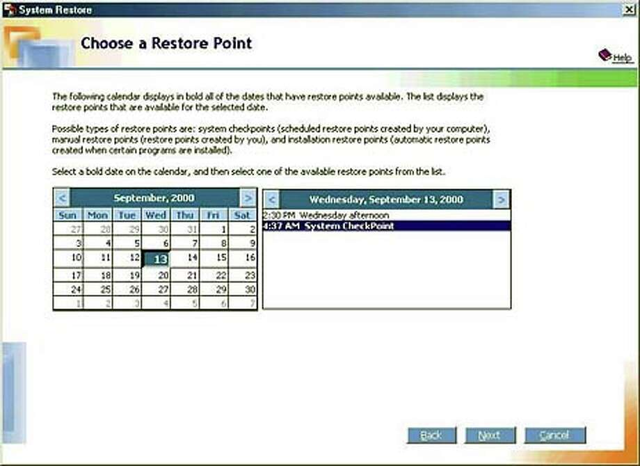 Millennium Edition's system restore feature helps thwart problems caused by corrupted files or newly installed software
