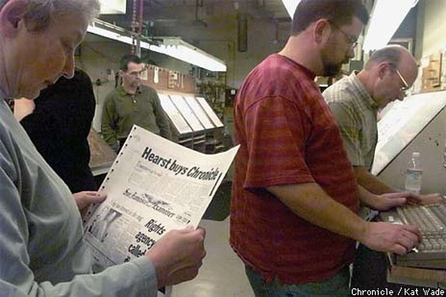 The San Francisco Examiner's Managing Editor of News, Sharon Rosenhause, (left) looks over the remake of page one after the anouncement of the sale of the San Francisco Chronicle to The Hearst Corporation made the new headline of their final edition. Right: Darrren Richardson, the composing room editor and Executive Production editor, Michael Munzell work on the final changes, while in the background Tim Porter, Editor of Examiner.com has a reflective moment. SAN FRANCISCO CHRONICLE PHOTO BY KAT WADE Photo: KAT WADE