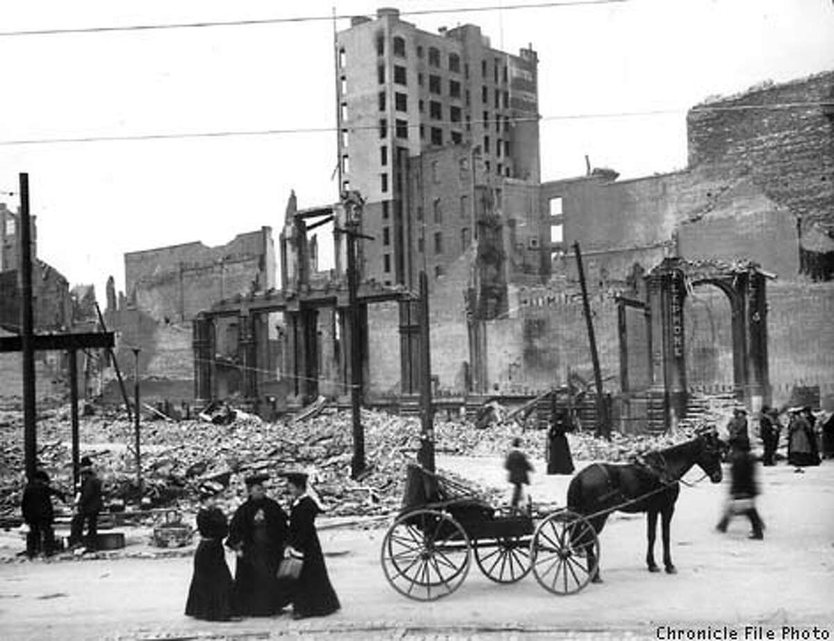 After the fire and earthquake, San Francisco looked as if it had been bombed. This is all that was left of a cluster of downtown buildings. Chronicle File Photo