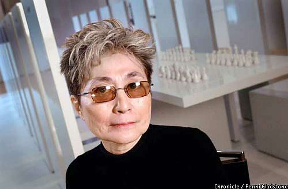 ARTNOTES25A -C-21JUN02-DD-PG yoko ono at her exibit at the San Francisco Museum of Modern Art SAN FRANCISCO CHRONICLE PHOTO BY PENNI GLADSTONE