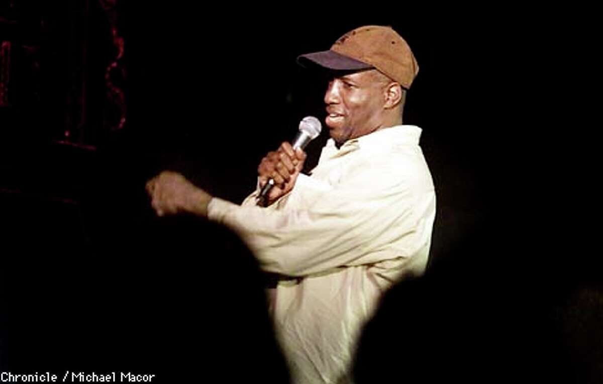 HA HA: Comic Warren Thomas works the crowd on a recent Friday night at Tommy T's in Concord. The club's audiences are meager compared to those in the heady comedy heyday of the 1980s. Chronicle Photo by Michael Macor