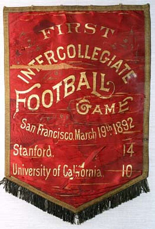 A gameball from the Big Game in 1930 is displayed in the Stanford Hall of Fame. Largest point spread in Big Game. CHRONICLE PHOTO BY DEANNE FITZMAURICE