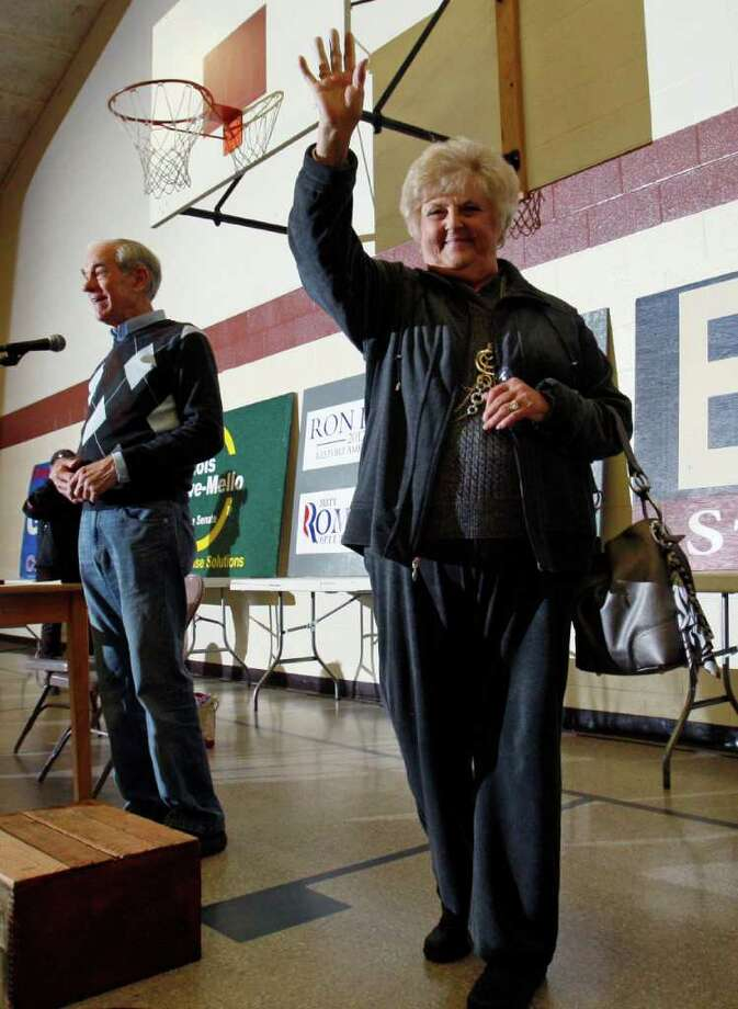 Carol Paul, wife of Republican presidential candidate Rep. Ron Paul, R-Texas, acknowledges applause after being introduced during an election caucus, Saturday, Feb. 11, 2012, in New Gloucester, Maine. Photo: Robert F. Bukaty, Associated Press / AP