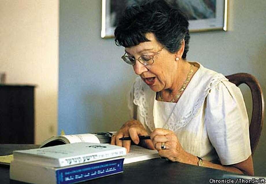 Evelyn Szelenyi worked hard studying her Yiddish. Chronicle photo by Thor Swift / CHRONICLE