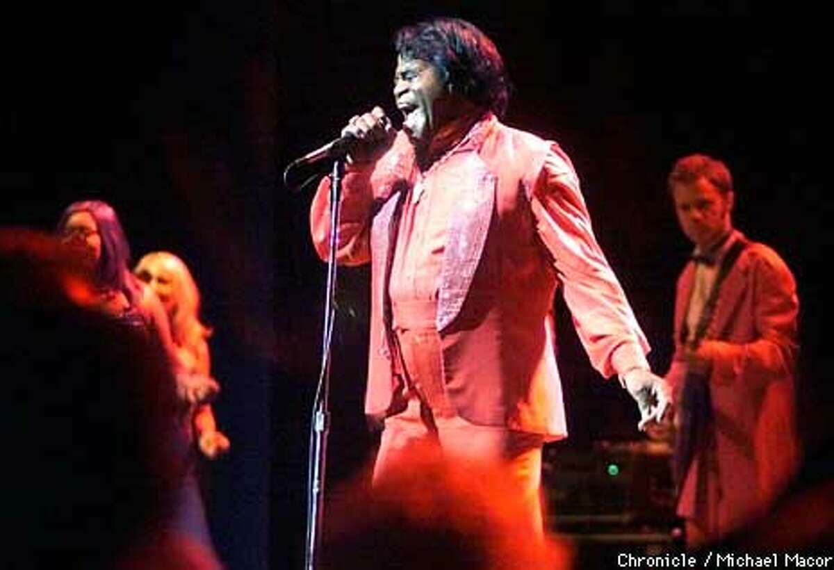 James Brown and a large entourage played for his birthday - his 72nd or his 67th - at a sold-out Paramount theatre. Chronicle Photo by Michael Macor