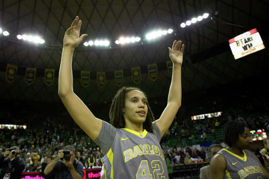 Baylor center Brittney Griner celebrates after the Lady Bears victory over Texas A&M in a NCAA women's basketball game at the Ferrell Center on Saturday, Feb. 11, 2012, in Waco. Baylor won the game 71-48. Photo: Smiley N. Pool, Houston Chronicle / © 2012  Houston Chronicle