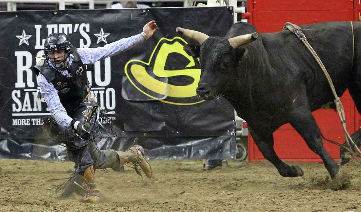 Cody Teel runs from a bull named Black Dutch after falling off the steer during the bull riding competition at the 2012 San Antonio Stock Show & Rodeo on Saturday, Feb. 11, 2012.