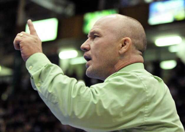 Shen coach Rob Weeks during the Section II wrestling tournament at the Glens Falls Civic Center Saturday Feb. 11, 2012.   (John Carl D'Annibale / Times Union) Photo: John Carl D'Annibale / 00016192B