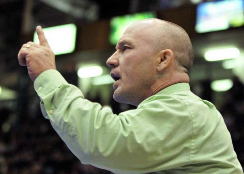 Shen coach Rob Weeks during the Section II wrestling tournament at the Glens Falls Civic Center Satu