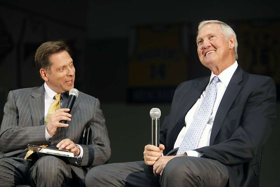 "CSN Bay Area's Greg Papa interviews Jerry West on a special edition of ""Chronicle Live"" at the Warriors Practice Facility in Oakland, Calif. on Thursday night Nov. 3, 2011. Photo: Tim Maloney, The Chronicle"