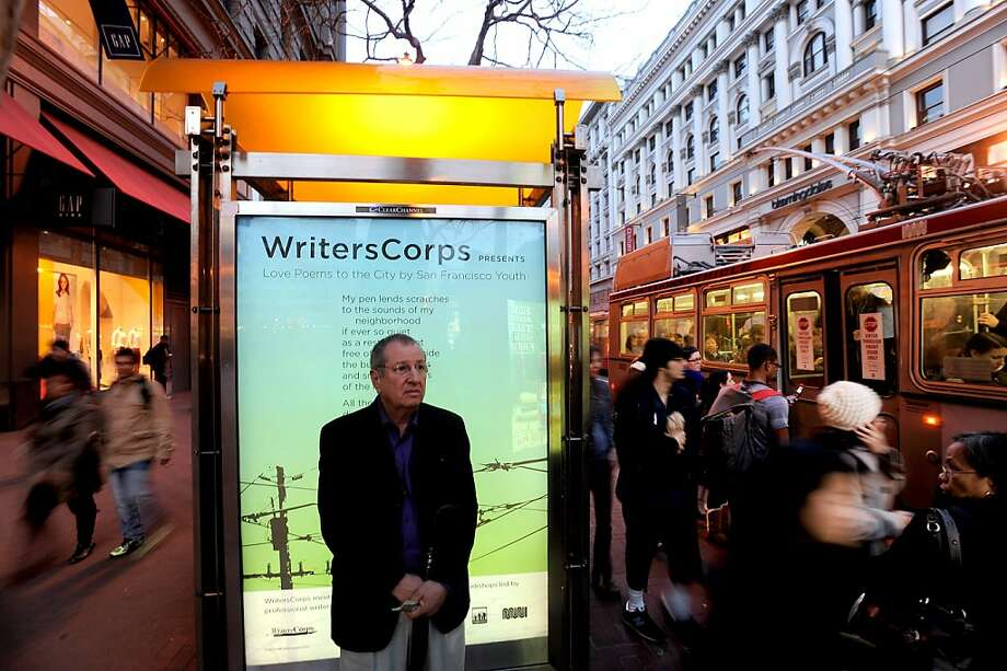 "A poem from WritersCorps ""Love Poems to the City by San Francisco Youth"" greets commuters at a Market St. bus stop on Thursday, Feb. 10, 2012, in San Francisco. Photo: Noah Berger, Special To The Chronicle"