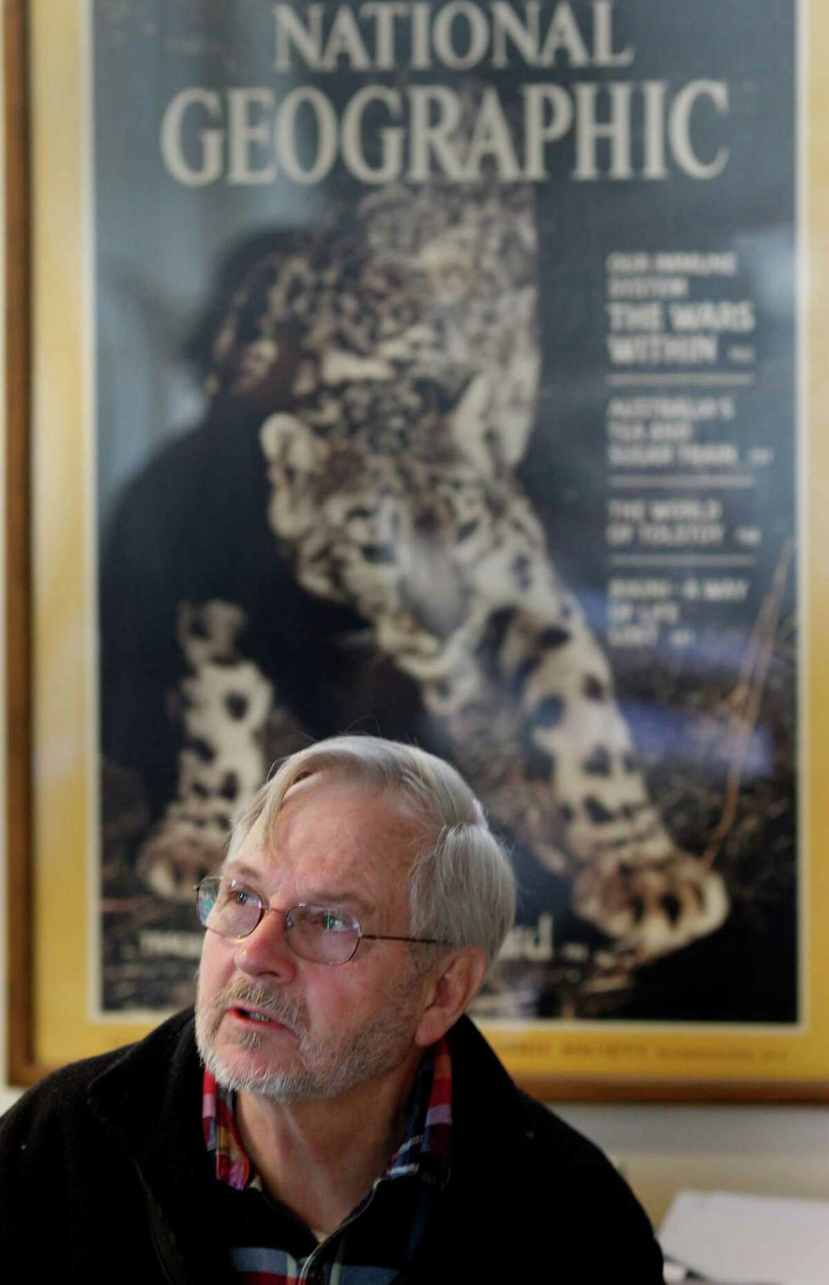 Rodney Jackson in his office with a large blowup of a 1986 National Geographic story with his photo of a snow leopard. Jackson, the world's foremost expert on snow leopards, uses remote camera traps to record the elusive cats in Asia. He uses the same technology near his Sonoma home to watch for mountain lions, bobcats, fox and other animals.