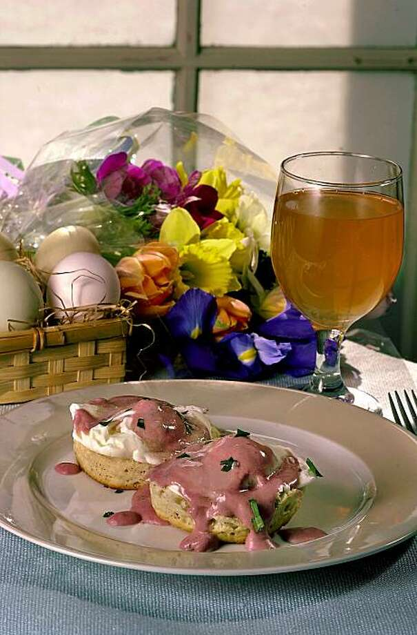 Orange-Tarragon Eggs Benedict: Blood orange juice brightens up eggs benedict. And yes, that's hollandaise is pink! Click here for the recipe.  Photo: Darryl Bush, Sfc