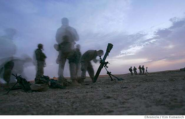 IRAQ30_BORDER_0048_KK.JPG  After sunset Thursday, Marines from the 1st Mobile Assault Platoon, Weapons Company, 3rd Battalion, 6th Marine Regiment set up mortars near the Syria-Iraq border. This photo is a 10-second time exposure.  San Francisco Chronicle Photo by Kim Komenich  9/29/05 Photo: Kim Komenich