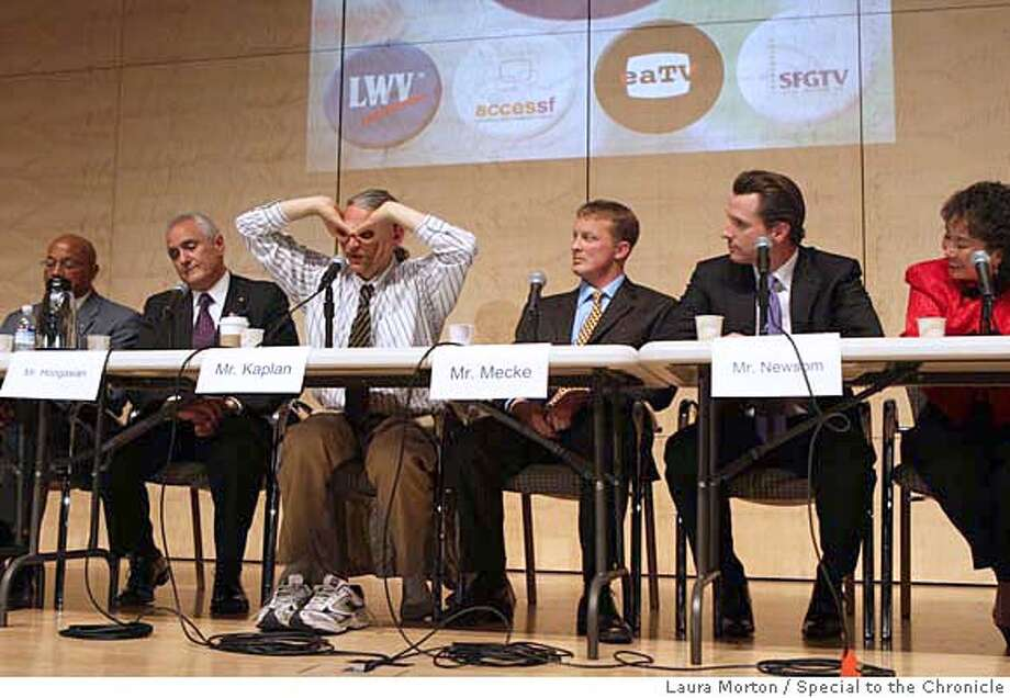 DEBATE12_0491_LKM.jpg Grasshopper Kaplan, a candidate for Mayor of San Francisco, gestures to the crowd while the other candidates were addressing the issue of surveillance cameras during Wednesday night's debate at the San Francisco Public Library. (Laura Morton/Special to the Chronicle) Photo: Laura Morton