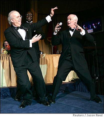 Comedian Colin Mochrie, right, shown here with former White House Senior Advisor Karl Rove, turns 55. Photo: JASON REED