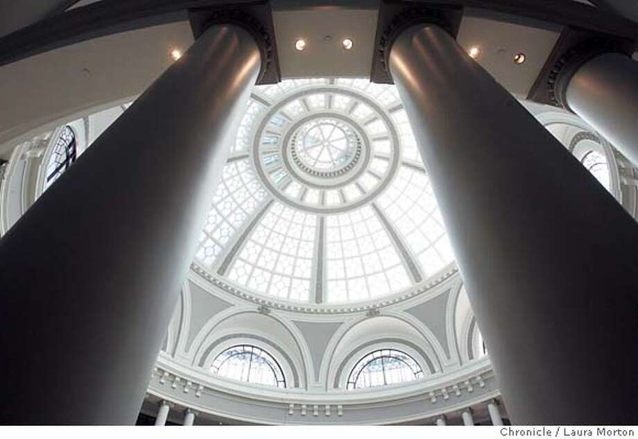 Columns lead up to the rotunda in the new Westfield San Francisco Centre. Photo: Laura Morton