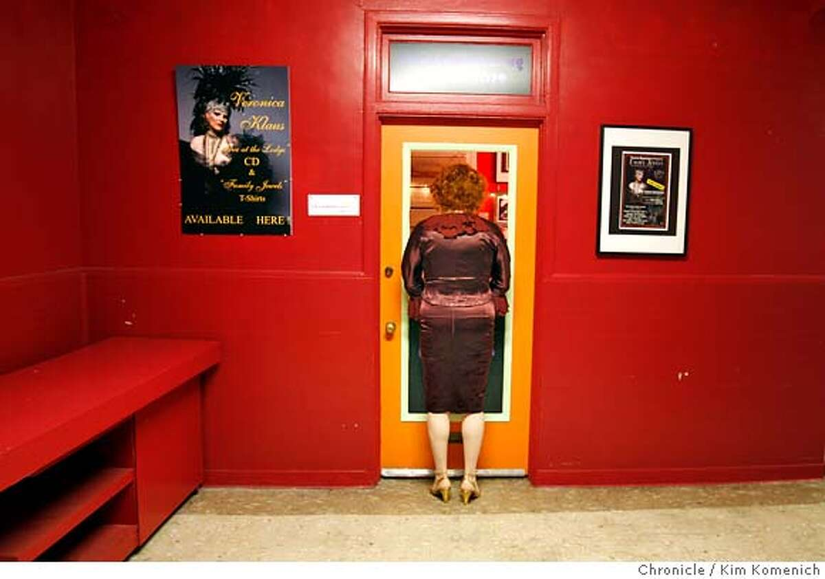 TRANNY_045_KK.JPG Veronica Klaus looks in to the business office at Theater Rhinoceros. (BACKGROUND: The door she's looking into is a two-part door that tickets can be sold from.) Veronica Klaus is one of the interviewees for an upcoming Guthmann piece on male-to-female transsexuals. She stars in