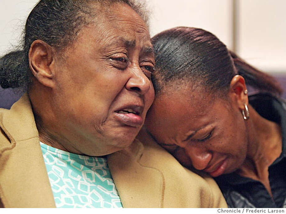 {object name} Marlin Coats mother Camille Coats (left) and wife Jacqueline Coats comfort each other at a press conference held in SF about the tragedy that continues for the wife of Marlin Coats, who (Marlin) drowned Sunday while rescuing two young boys at Ocean Beach in San Francisco. Mr. Coats' wife, Jacqueline, now faces deportation to Kenya as a result of his death. ** Jacqueline Coats, Camille Coats 5/17/06  {Frederic Larson/The Chronicle} Photo: Frederic Larson