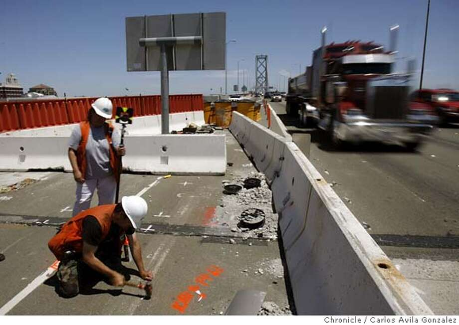 .JPG  Lisa Sicks, rear, and Robert Blank, front, part of a Caltrans survey party, mark the end of the west-bound lanes on Tuesday, May 30, 2006, that will be demolished this coming weekend. West-bound traffic will be affected as it will be slightly rerouted. Caltrans will be closing all lanes leading on and off the western end of the Bay Bridge the weekend of June 3-4, 2006, to realign lanes in the on-going retrofit project.  Photo by Carlos Avila Gonzalez/The San Francisco Chronicle  Photo taken on 5/30/06, in San Francisco, CA, USA  **Lisa Sicks and Robert Blank cq (source) MANDATORY CREDIT FOR PHOTOG AND SAN FRANCISCO CHRONICLE/ -MAGS OUT Photo: Carlos Avila Gonzalez