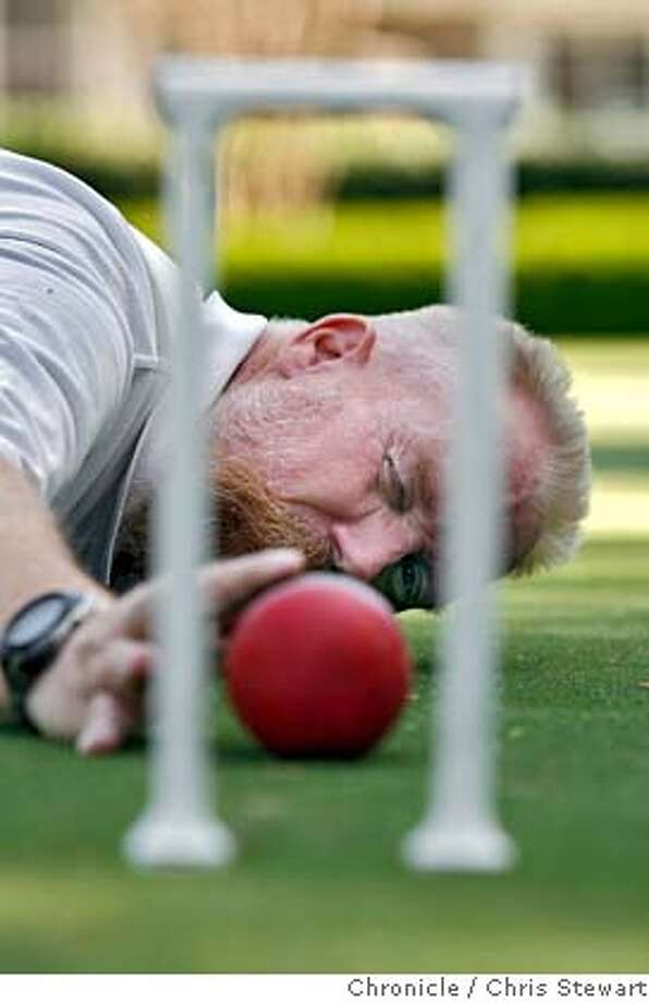 croquet_112_cs.jpg  Jerry Stark (cq), 52, lines up a shot on the Meadowood croquet court in St. Helena. Stark is ranked number two in the nation as a competitive croquet player and the croquet director at Meadowood in St. Helena. Photographed March 21, 2007.  Chris Stewart / The Chronicle Jerry Stark, croquet, Meadowood MANDATORY CREDIT FOR PHOTOG AND SF CHRONICLE/NO SALES-MAGS OUT Photo: Chris Stewart