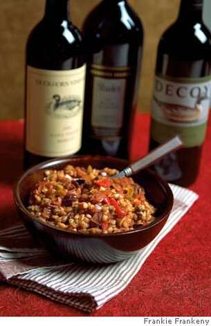 Farro With Olive & Tomato Sauce. Photo by Frankie Frankeny / styling by C. Gleaver