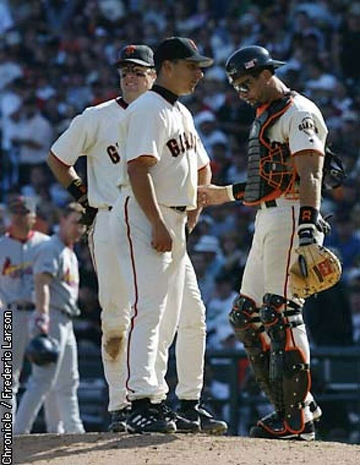 Giants pitcher Russ Ortiz is removed from the game. The San Francisco Giants play the St. Louis Cardinals in game three of the National League Championship Series at Pac Bell Park in San Francisco, Ca. October 12, 2002. (Fredric Larson/SAN FRANCISCO CHRONICLE) Photo: Fredric Larson