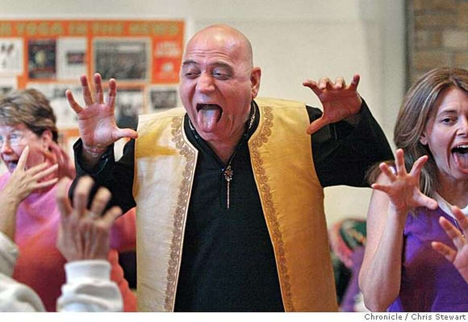 LAUGHTERYOGA14_0367_cs.jpg Event on 10/4/07 in Middletown Dr. Madan Kataria (cq) leads a yoga training session at the 2007 California Laughter Yoga Training and Conference at Harbon Hot Springs in Middletown, Lake County. Founded by Kataria and his wife Madhuri Kataria (cq - not pictured) in Mumbai, India in the mid 1990�s, there are over 6,000 laughter clubs in the world. Innovative laughter yoga exercises are based on yogic and include laughter with movement and some intermittent breathing and stretching. Dr. Kataria�s mission behind the Laughter Yoga movement is �World Peace through Laughter. �  Chris Stewart / The Chronicle Dr. Madan Kataria, Madhuri Kataria, Laughter Yoga MANDATORY CREDIT FOR PHOTOG AND SF CHRONICLE/NO SALES-MAGS OUT Photo: Chris Stewart