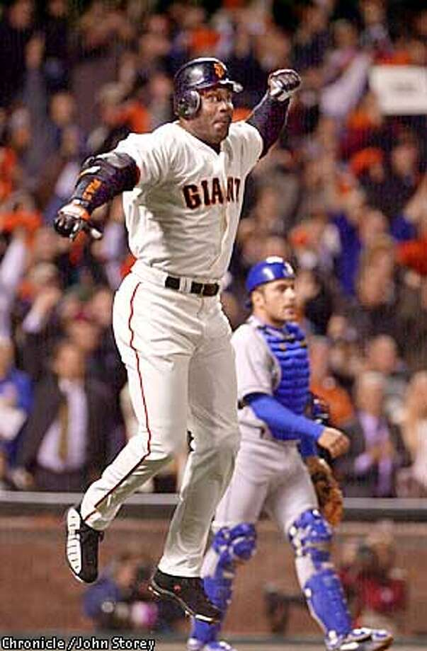 The Giants vs. the Dodgers at Pacific Bell Park. Barry Bonds reacts to his 500th home run. Photo by John Storey. Photo: John Storey