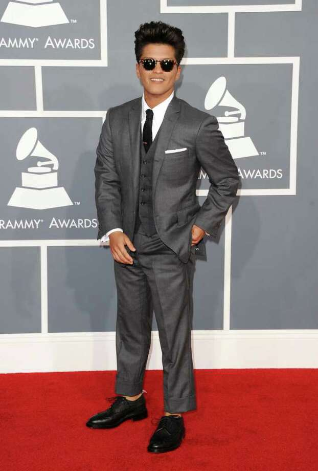 Bruno Mars sported his signature pompadour and Tom Brown suit - with no socks. Photo: Jason Merritt / 2012 Getty Images