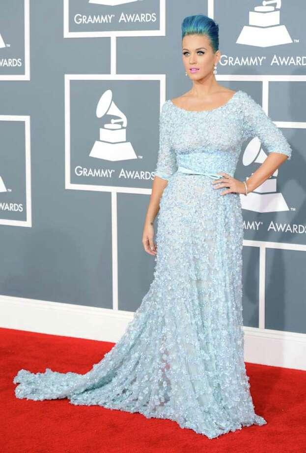 Katy Perry rocked the Marge Simpson/Smurfette look. Photo: Jason Merritt, Staff / 2012 Getty Images
