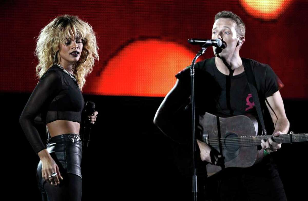 Rihanna, left, and Chris Martin of the band Coldplay perform during the 54th annual Grammy Awards on Sunday, Feb. 12, 2012 in Los Angeles. (AP Photo/Matt Sayles)