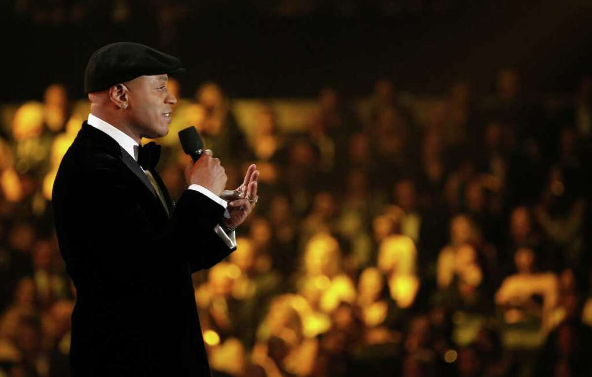 LL Cool J speaks onstage during the 54th annual Grammy Awards on Sunday, Feb. 12, 2012 in Los Angeles. (AP Photo/Matt Sayles)