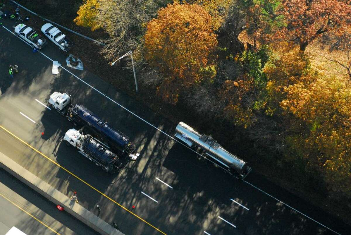 Morgan Kaolian AEROPIX The northbound lanes of Interstate 95 between Exits 18 and 21 have been shut since about 4:15 a.m. after an early-morning tanker truck fire. The driver of the truck, operated by to Quality Carriers of Rahway, N.J., noticed that his brakes were
